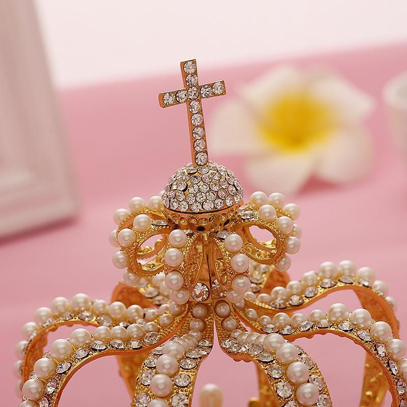 europe bride crown cross hair accessories baroque golden crown hair jewelry Studii Majori